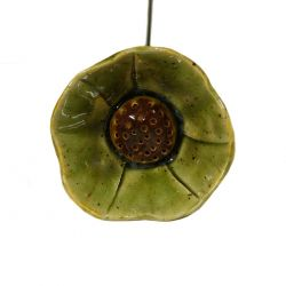 Green Ceramic Poppy